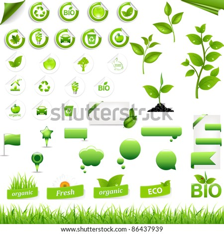 Collection Of Eco Elements, Isolated On White Background, Vector Illustration