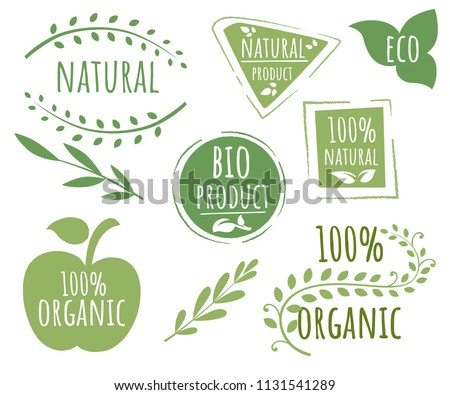 Collection of eco friendly logo stamps. 100 organic logo design. Green vector eco stamp. Flat vector illustration. Isolated on white background.