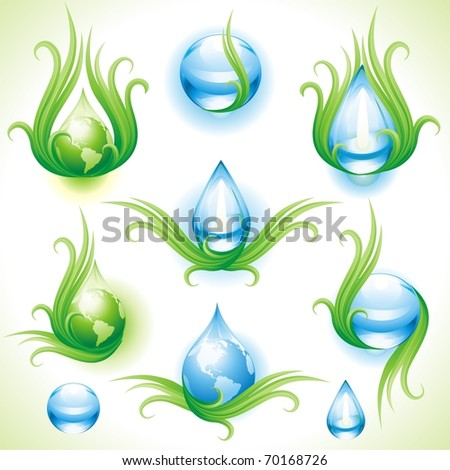 collection of eco icons vector