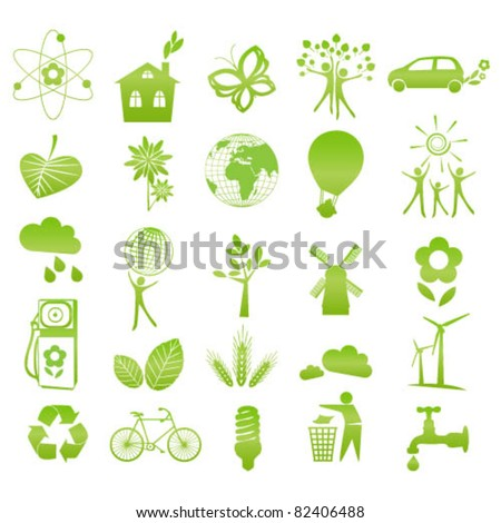 Collection of 25 ecology ( eco ) and environmental icons and signs