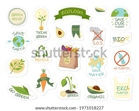 Collection of ecology stickers with slogans save earth, go green, eco, save water.Eco friendly lifestyle. Ecological stickers