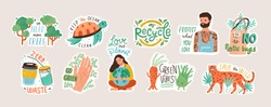 Collection of ecology stickers with slogans - zero waste, recycle, eco friendly tools, environment protection. Bundle of decorative design elements. Flat cartoon colorful vector illustration.