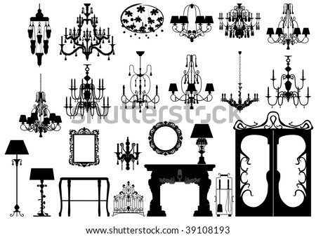 Collection of editable vector furniture and lighting silhouettes