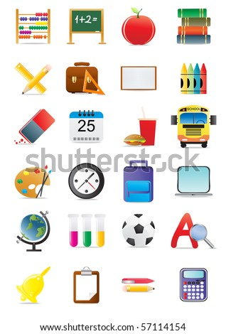 Collection of education and school icons, vector illustration - stock vector
