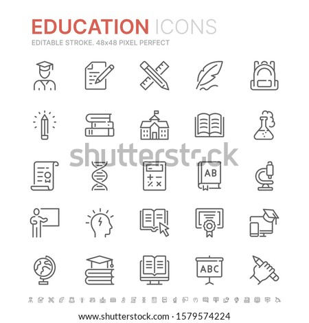 Collection of education related line icons. 48x48 Pixel Perfect. Editable stroke