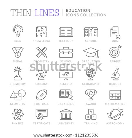 Collection of education thin line icons. Vector eps 8