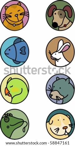 Collection of eight icons of the most common house pets