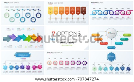 Collection of eight vector templates for infographics with 7 options, steps, processes for presentations, advertising, layouts, annual reports