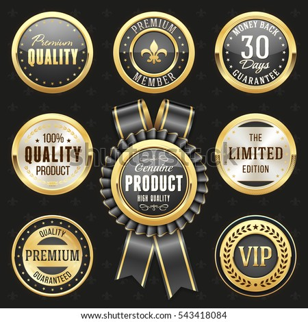 Collection of elegant black and gold design elements - buttons, badges, labels