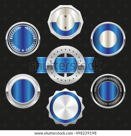 Collection of elegant blue and silver design elements - buttons, badges, labels