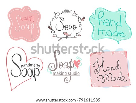 Collection of elegant hand drawn soap labels for handmade studio. Vector templates for soap package design. Cute badges for soap shop, handmade products.