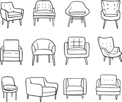 Collection of elegant modern chairs hand drawn with in lines on white background vector illustration