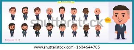 Collection of entrepreneurs, businessmen and managers. Business people standing together. Flat modern cartoon style. isolated vector design.International business team.Different age of men,nationality