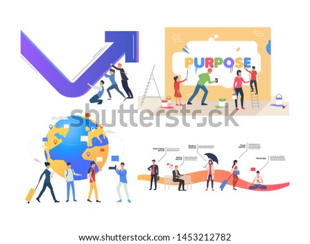 Collection of entrepreneurs developing international business. Group of people traveling, drawing on wall, achieving goal. Flat colorful vector illustration for promo, poster, webinar