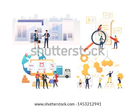 Collection of entrepreneurs working on project. Group of people discussing sale, analyzing report, delivering goods and engineering gear. Flat colorful vector illustration for promo, poster, shopping