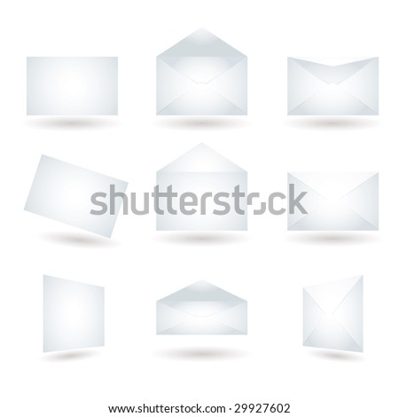 Collection of envelopes in different positions with shadow