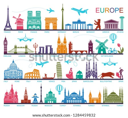 Collection of Europe detailed silhouettes. Set Travel Landmarks. vector illustration. London, Paris, Prague, Barcelona, Moscow Rome Athens Berlin Istanbul