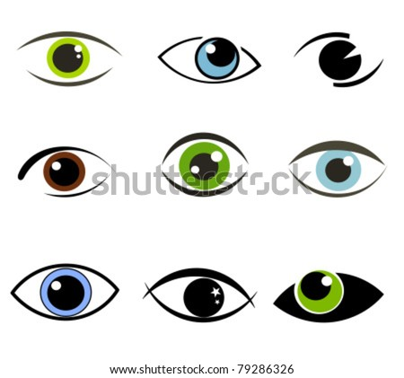 Collection of eyes icons and symbols - logo design. Vector illustration