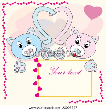 Collection of falling in love animals over cute background with hearts