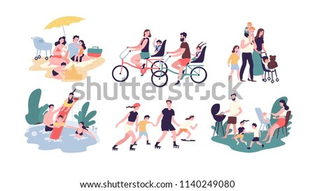 Collection of family outdoor recreational activities. Mother, father and children sunbathing, riding bikes, walking, swimming, roller skating, preparing barbecue together. Cartoon vector illustration. - Shutterstock ID 1140249080