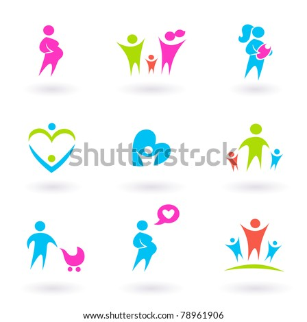 Collection of Family, People and Maternity icons. Vector Illustration.