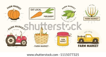 Collection of farm or agricultural market logo or labels with vegetables, farmer's machines, tools and equipment isolated on white background. Colorful vector illustration in modern line art style.