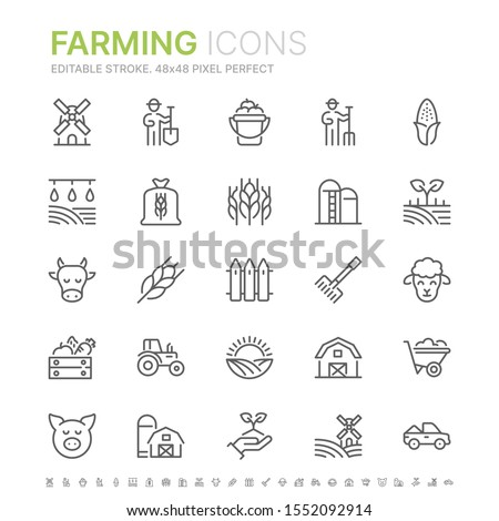 Collection of farming related line icons. 48x48 Pixel Perfect. Editable stroke