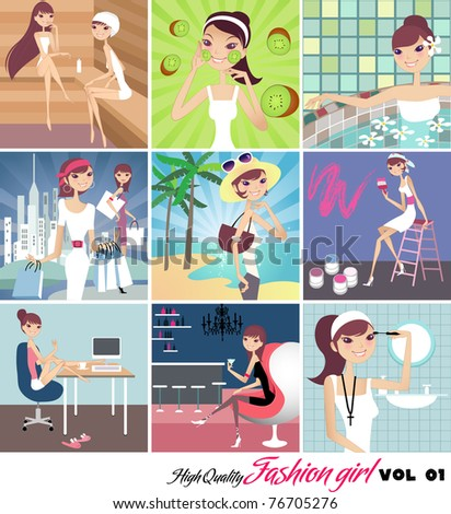 collection of fashion girl