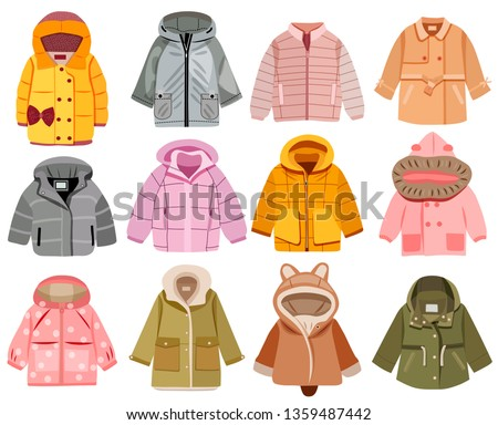Collection of fashionable children's clothing, vector illustration Сток-фото ©