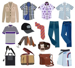 Collection of fashionable men's clothing (vector illustration)