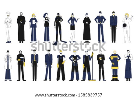 Collection of female and male workers of different professions. Bundle of people of various occupations in suites. Isolated on white background. Flat style stock vector illustration.