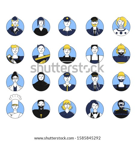 Collection of female and male workers of different professions user avatars. Bundle of icons of people of various occupations. Isolated on white background. Flat style stock vector illustration.
