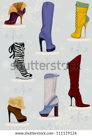 Collection of female boots on high heels standing on pedestals over blue background with snowflakes