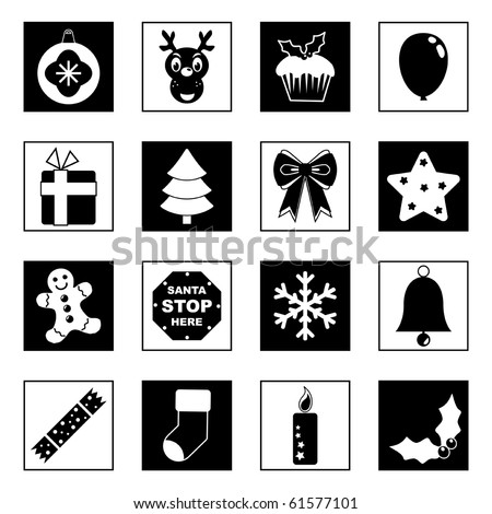 collection of festive christmas icons in black and white
