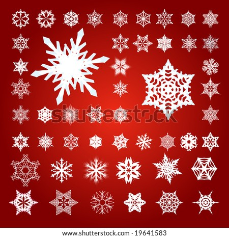 Collection of 50 Fifty White 3D Effect Vector Snowflakes on Red