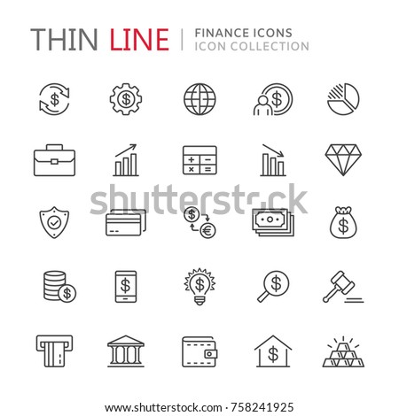 Collection of finance thin line icons