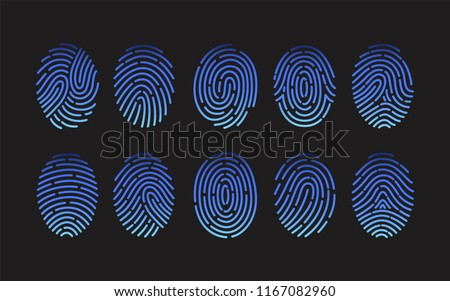 Collection of fingerprints of different types isolated on black background. Bundle of traces of friction ridges of human fingers. Criminal evidence, identification of person. Vector illustration.