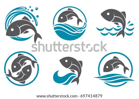 collection of fish icon with