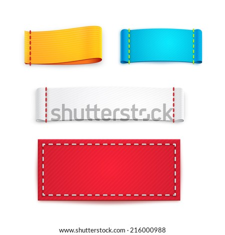 Collection of Five Colorful Blank Labels or Badges with Copyspace for Text