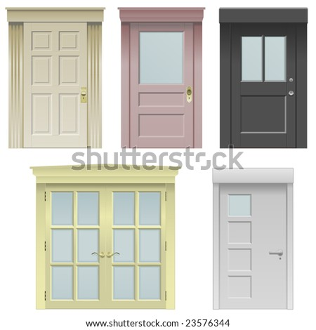 Collection of five vector doors in various styles