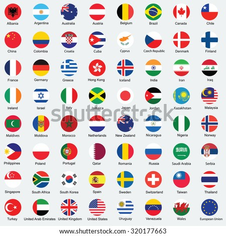 Collection of flag button design. Circle flags of the world.