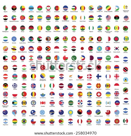 Collection of flag button with name | Circle flags of the world with RGB coloring and detailed emblems #258034970