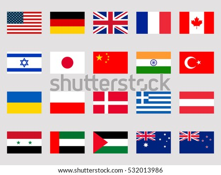 Collection of flags of the world on a white background. Vector illustration.