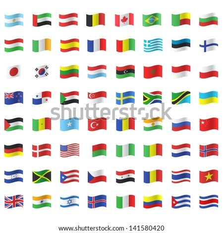 collection of flags vector