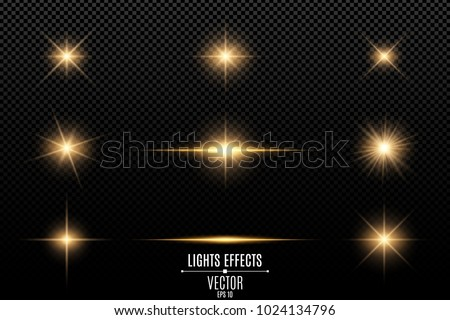 Collection of flashes, lights and sparks. Abstract golden lights isolated on a transparent background. Bright gold flashes and glares. Bright rays of light. Glowing lines. Vector illustration. EPS 10