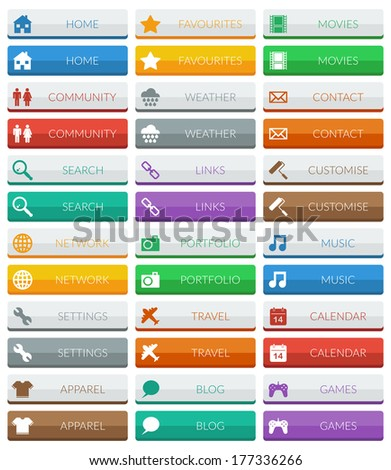 collection of flat color modern web buttons, 2 variations isolated on white #177336266