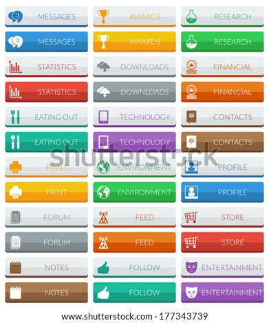 collection of flat color modern web buttons, 2 variations isolated on white #177343739