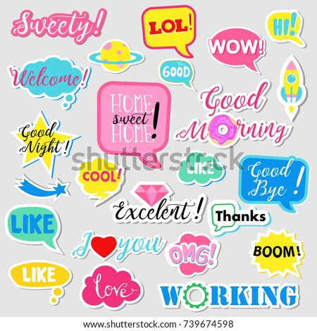 Collection of flat design social network stickers. Set of stickers, pins, patches and badges vector illustration. Stickers for mobile messages, chat, social media, online communication, networking #739674598