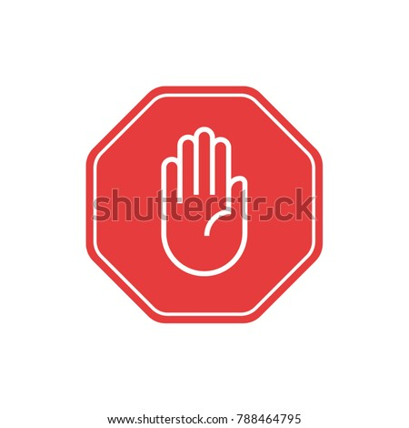 Collection of flat design stop sign icons and pictograms. Abstract stylish vector danger signs on a white background #788464795