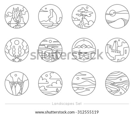 collection of flat outline